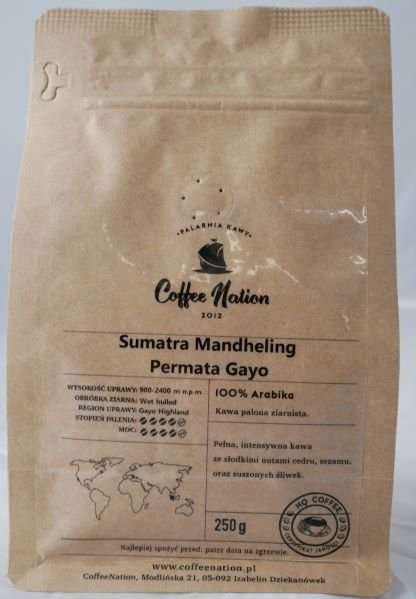 Sumatra Mandheling  Permata Gayo  250g  -100% Arabika