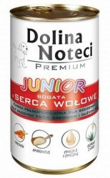 Dolina Noteci Premium Pies Junior Serca wołowe puszka 400g