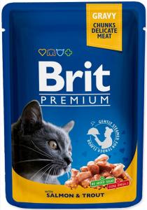 Brit Premium Cat Adult Łosoś + Pstrąg saszetka 100g