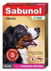 DermaPharm Sabunol GPI Obroża przeciw pchłom dla psa ozdobna różowa 50cm