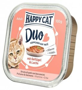 Happy Cat Duo pasztet z drobiem i łososiem 100g