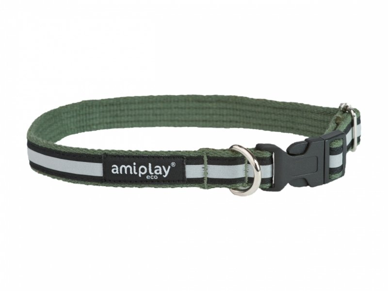 Amiplay Obroża Cotton Shine S 28-40/1,5cm khaki odblask