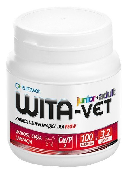 Eurowet Wita-Vet Junior+Adult - preparat witaminowy dla ciężarnych suk i szczeniąt 100 tabletek