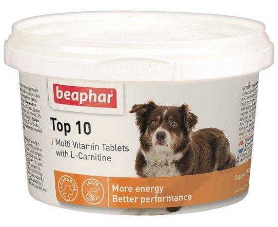 Beaphar TOP 10 Dog - preparat witaminowy z L-karnityną dla psa 180 tabletek