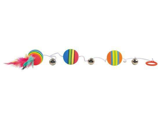 Trixie Piłki tęczowe na gumce z piórkiem [TX-4133]