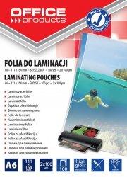 Folia do laminowania OFFICE PRODUCTS, A6, 2x100mikr., błyszcząca, 100szt., transparentna