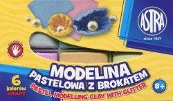 Modelina pastelowa z brokatem 6 kolorów