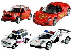 Autko policja Straż pożarna metal 1:32 mix