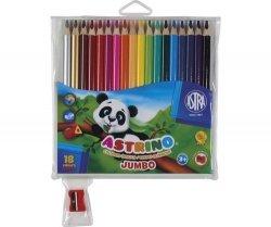Kredki ołówkowe Astrino Jumbo trójkątne 18 kolorów + temperówka