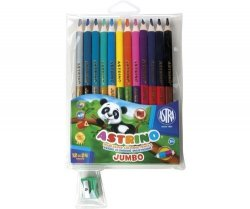 Kredki ołówkowe Astrino dwustronne 12 sztuk=24 kolory + temperówka