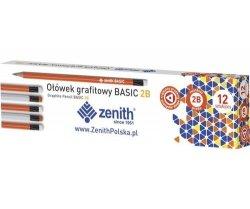 Ołówek Zenith Basic 2B trójkątny z gumką 12 sztuk