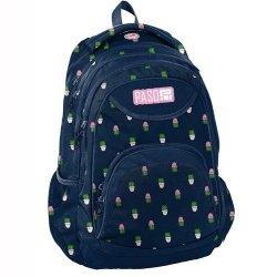 Plecak szkolny granatowy w kaktusy