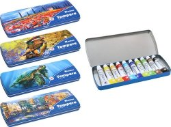 Farby tempera 12ml. 10 kolorów metal box