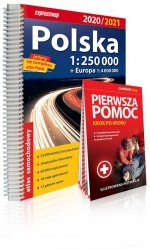 Polska atlas samochodowy 1:250 000 2020/2021 + instrukcja pierwszej pomocy