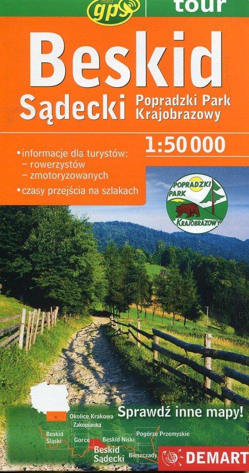 Beskid sądecki Popradzki Park Krajobrazowy mapa turystyczna