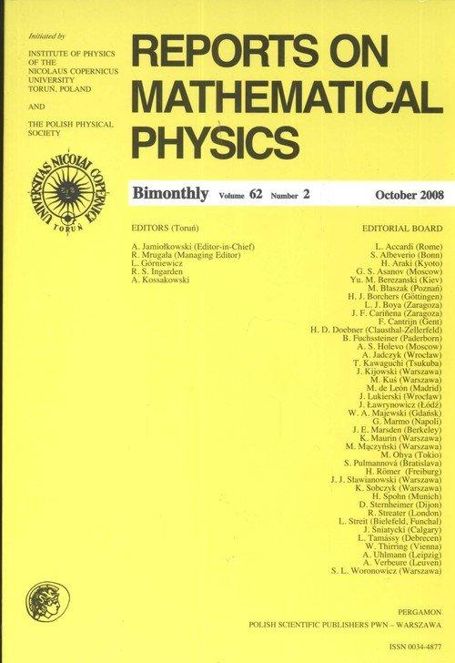 Reports on Mathematical Physics 62/2 2008