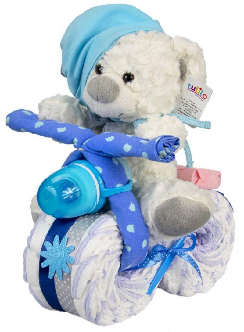 Rowerek Miś tort z pieluch pampers niebieski