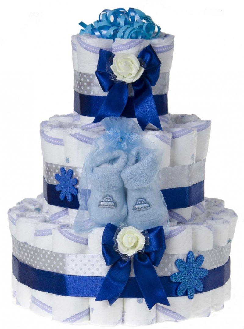 Tort duży z pieluch pampersów 60 szt. rozm. 2 niebieski