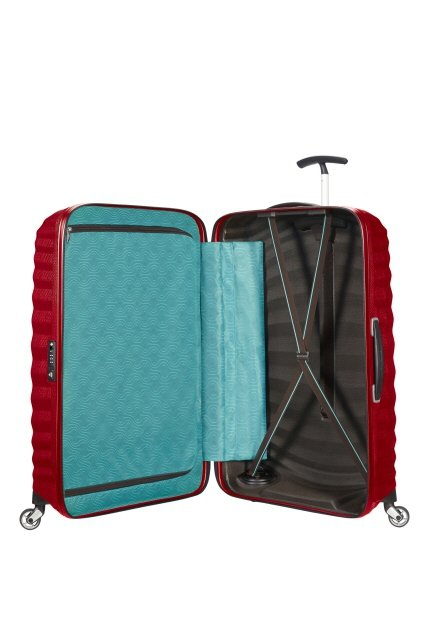 Bagaż posiada dwie komory. Jedna komora zapinana na suwak, druga komora z pasami przytrzymującymi ubrania