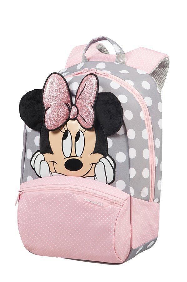 Plecak dziecięcy z Myszką Minnie. Myszka posiada miękkie uszka i błyszczacą kokarde