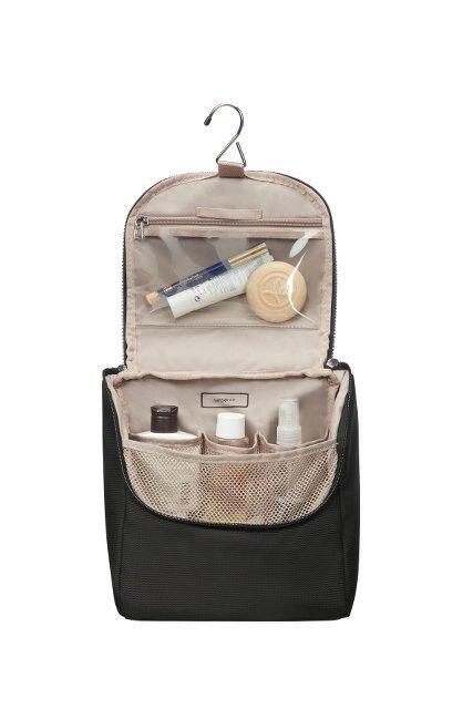 Kosmetyczka wewnątrz posiada haczyk umożliwiający jej powieszenie oraz przegrody ułatwiające łatwe umieszczenie kosmetyków