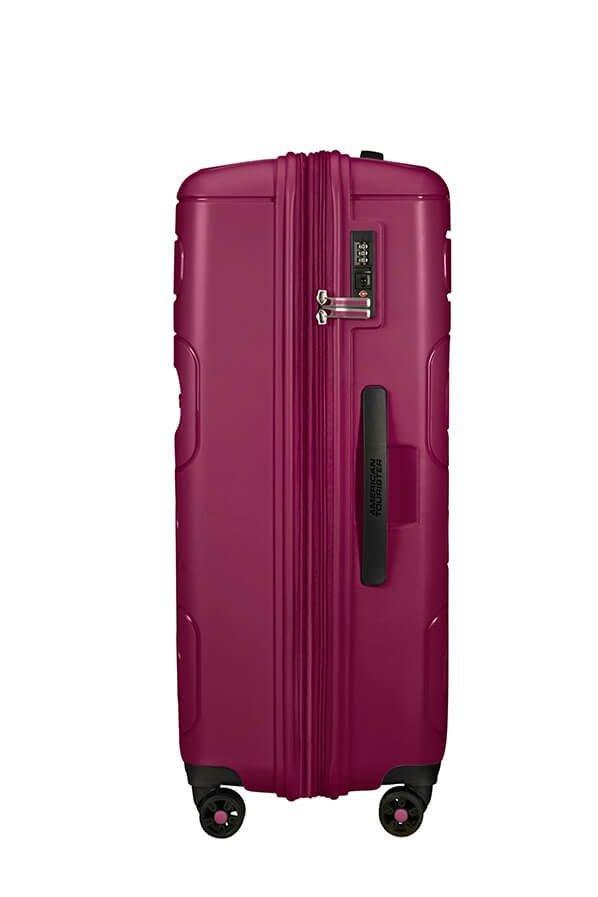 Bagaż posiada cztery obrotowe koła do wygodnego prowadzenia bagażu oraz zamek szyfrowy TSA