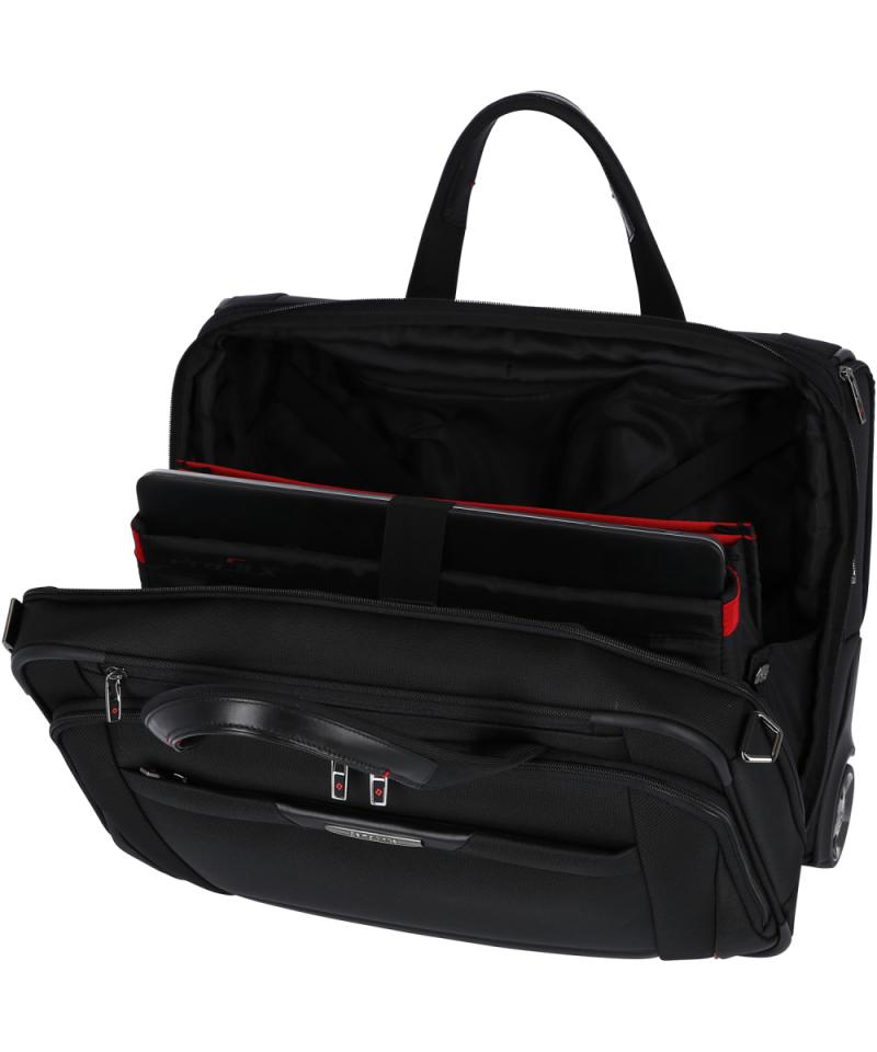 Torba posiada wewnątrz miejsce na dokumenty i laptopa oraz możliwość powiększenia swojej objętości