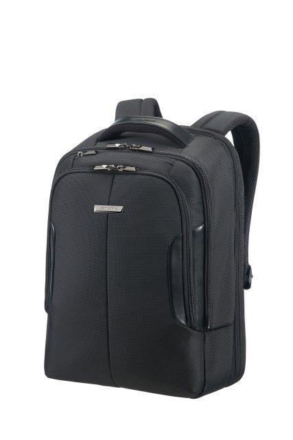 """Plecak na laptopa 15,6"""" wykonany z poliestru połączonego z nylonem oraz elementami z ekoskóry"""