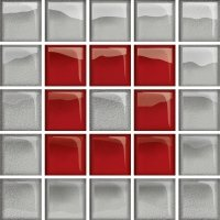 Glass Silver Red Mosaic B New 14,8x14,8