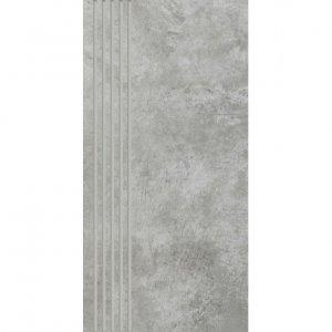 PARADYZ scratch grys stopnica prosta nacinana mat. 29,8x59,8 g1