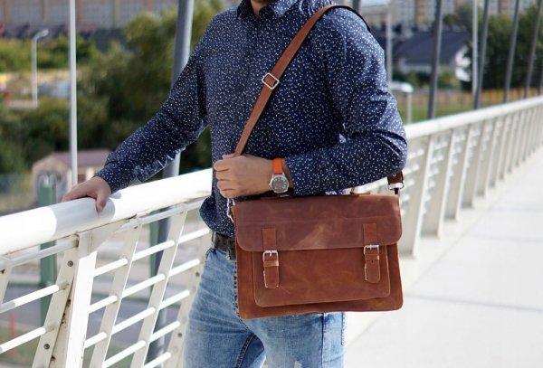 Skórzana torba na ramię Solome Lago 04 karmel detal