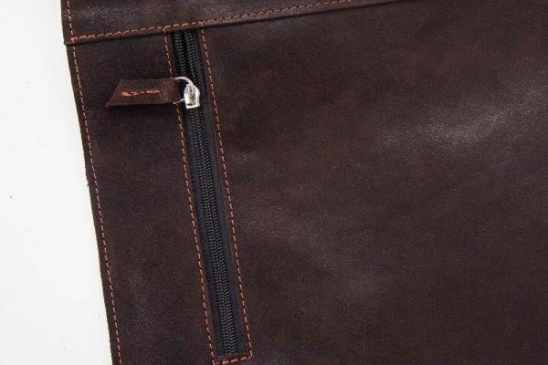 Torba męska na ramię Solome Newbridge vintage brązowa detal