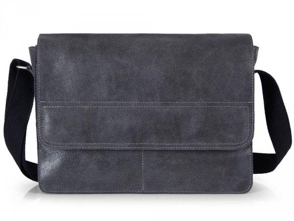 Skórzana torba męska na ramię Solome Blackrok jasno szara vintage przód