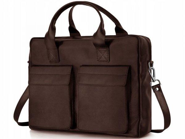 Skórzana torba na laptopa Solome Windsor brązowa skos
