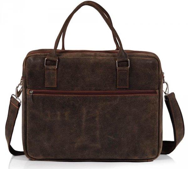 Skórzana torba męska na laptop Solome Alston vintage brązowa tył