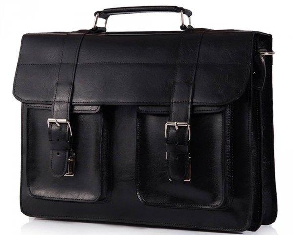 Skórzana męska torba na ramię Solome Lago 02 czarna błyszcząca skos