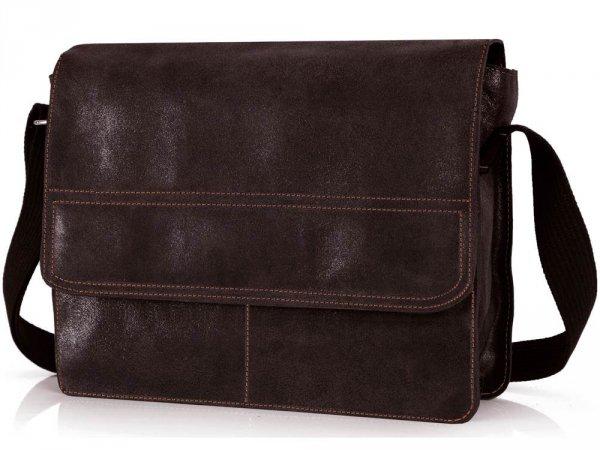 Skórzana torba męska na ramię Solome Blackrock brązowa vintage skos