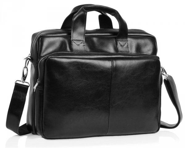 Skórzana torba na laptop Solome premier czarna skos