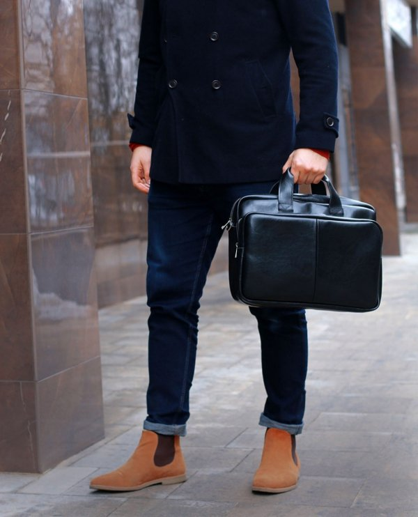 Skórzana torba na laptop Solome premier czarna look