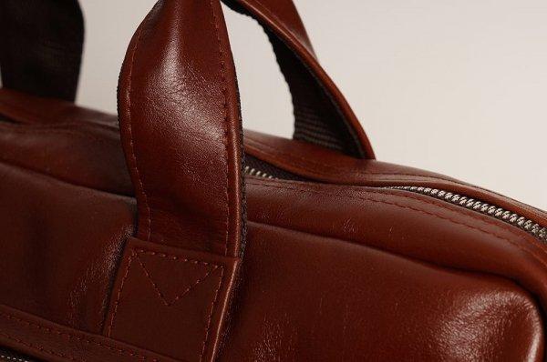 Skórzana torba na laptopa Solome premier karmel detal 4