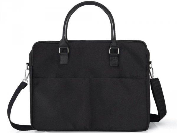 Skórzana torba na laptop Solome Ring 01 czarna Codura tył