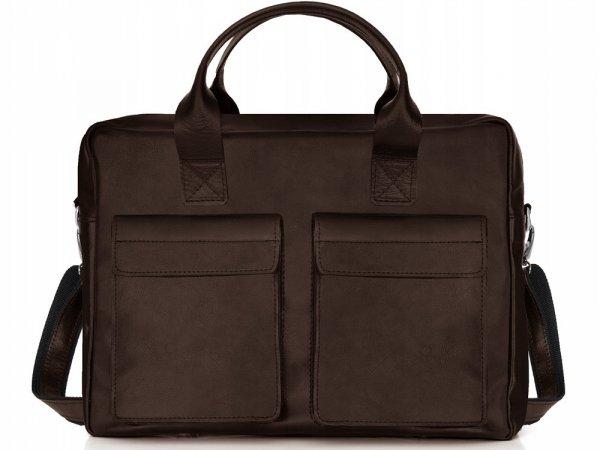 Skórzana torba na laptopa Solome Windsor brązowa przód