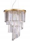 ZŁOTA KRYSZŁAŁOWA LAMPA WISZĄCA IDEAL LUX CARLTON SP12 213521 ZŁOTY ŻYRANDOL KRYSZTAŁOWY