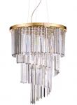 ZŁOTA KRYSZTAŁOWA LAMPA WISZĄCA IDEAL LUX CARLTON SP12 213521 ZŁOTY ŻYRANDOL KRYSZTAŁOWY