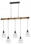 INDUSTRIALNA LAMPA WISZĄCA BELKA DREWNIANA ITALUX PONTE PND-4290-5-L VINTAGE
