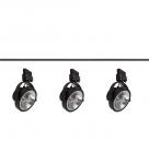 KOMPLETNY ZESTAW SZYNOWY Z REFLEKTORKAMI ES111 W KOLORZE CZARNYM (2m szyny + 3szt. reflektorów)