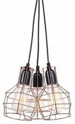 MIEDZIANA LAMPA WISZĄCA W STYLU VINTAGE ITALUX PERIFO MDM-2272/3 BK+COP