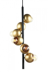 DESIGNERSKA LAMPA WISZĄCA ZŁOTA ITALUX MALMO PEN-5104-6-BKGD