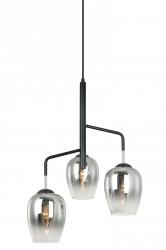 LOFTOWA LAMPA WISZĄCA ITALUX LESLA PEN-5359-3-BKCR CHROMOWA, SZKLANE KLOSZE