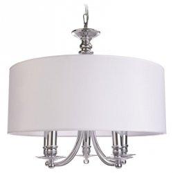 BIAŁA LAMPA WISZĄCA Z ABAŻUREM GLAMOUR ABU DHABI P05406WH COSMO LIGHT STYLOWY ŻYRANDOL ŚWIECZNIKOWY Z ABAŻUREM BIAŁY